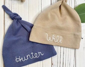 Any Name - Personalised Newborn Baby HAT - Beautifully Embroidered NO Stickers