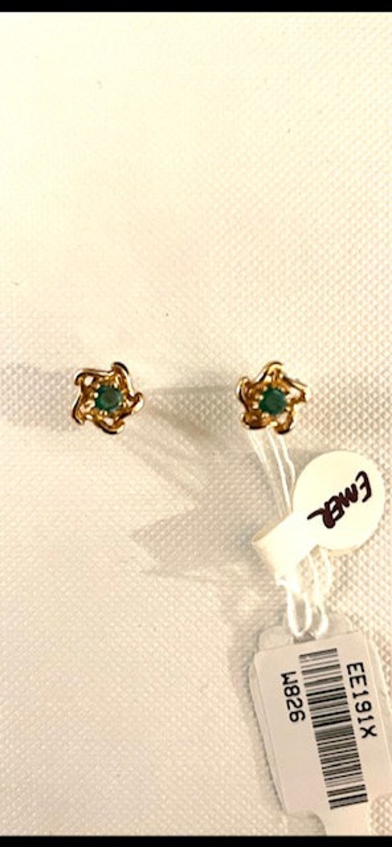 Emerald and 14K Earrings