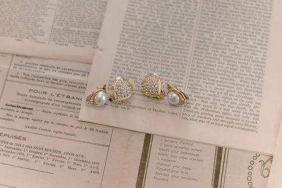 cœur duo earrings / vintage gold heart earrings /