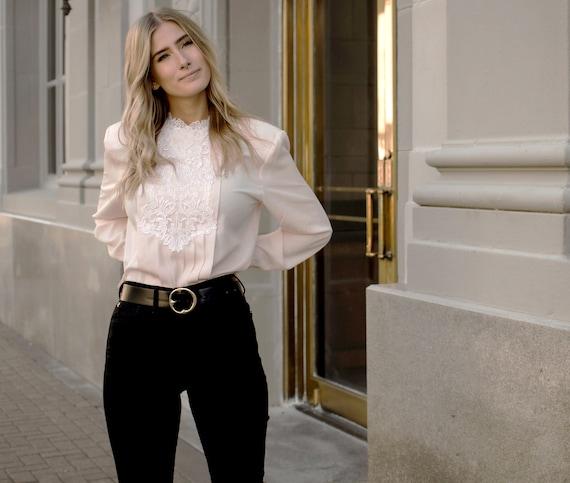 rose blouse / vintage blush embroidered blouse / l