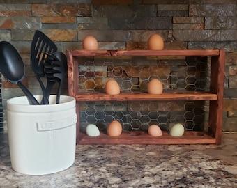 Egg decor/egg holder/fresh eggs/ 18ct egg stand/farmhouse egg stand