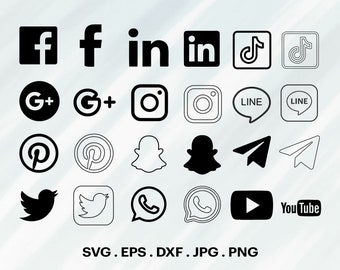 Social Media SVG, Social Media Icons Bundle, Social Media Logo Package, Social Media Clipart Bundle SVG For Cricut, Social Media SVG.