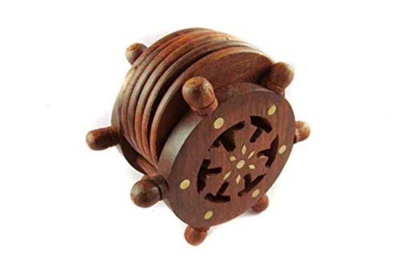 office decor Wooden Wheel Shape Coaster for Tea Coffee Dining Table Handmade tea coaster Home decor Wooden Tea Coasters