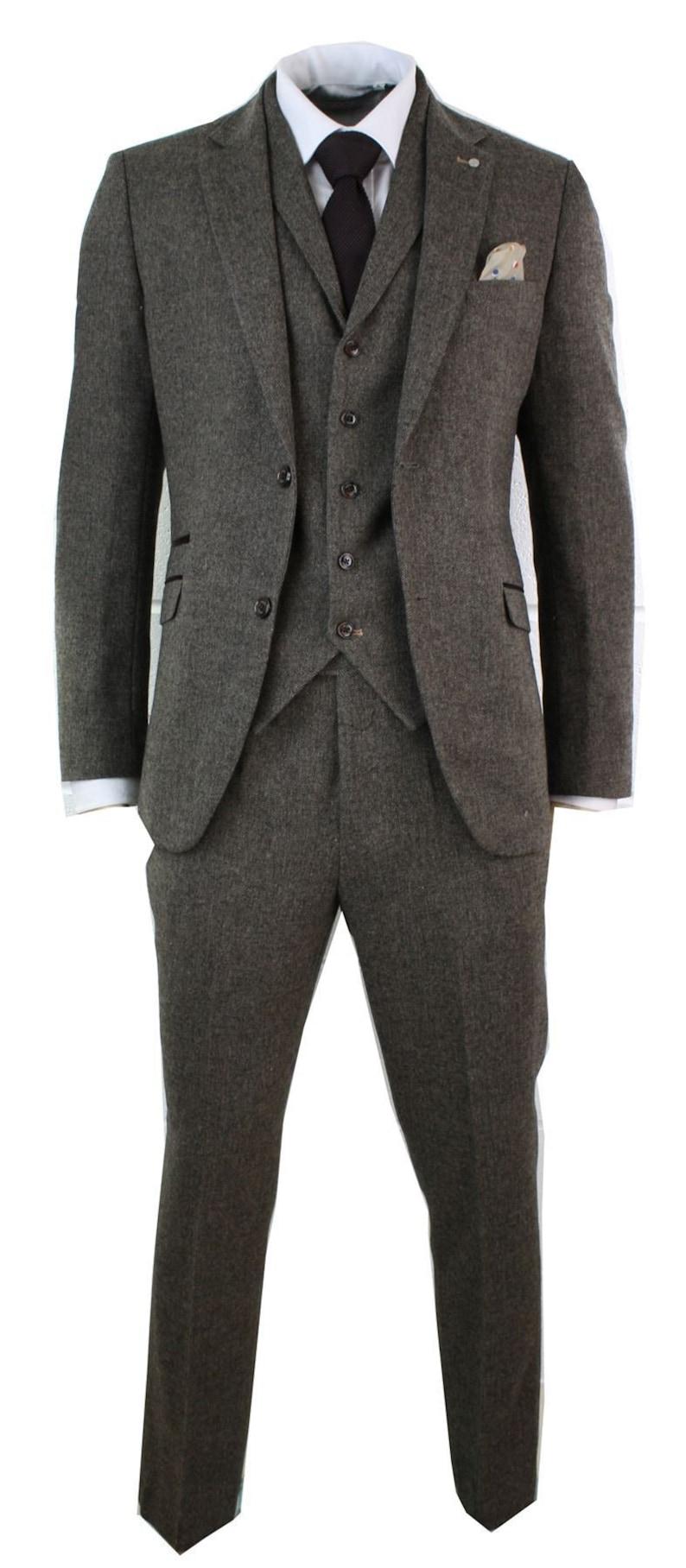 Men's Vintage Clothing | Retro Clothing for Men     Mens 3 piece wool blend herringbone tweed suit blue brown vintage tailored fit $288.52 AT vintagedancer.com