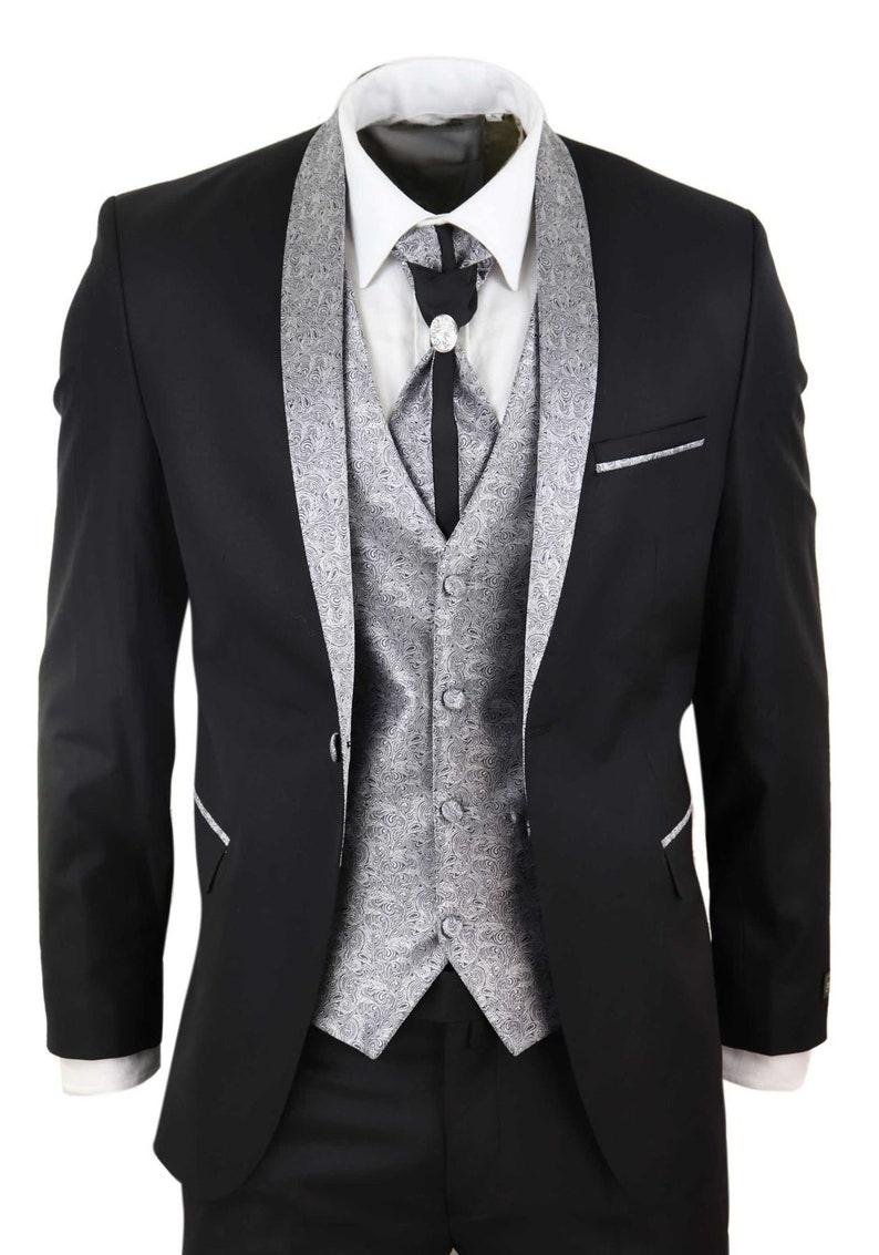 1960s Mens Suits | Mod, Skinny, Nehru     Mens 4 piece wedding suit groom shawl collar vintage black silver cravat tailor $158.69 AT vintagedancer.com