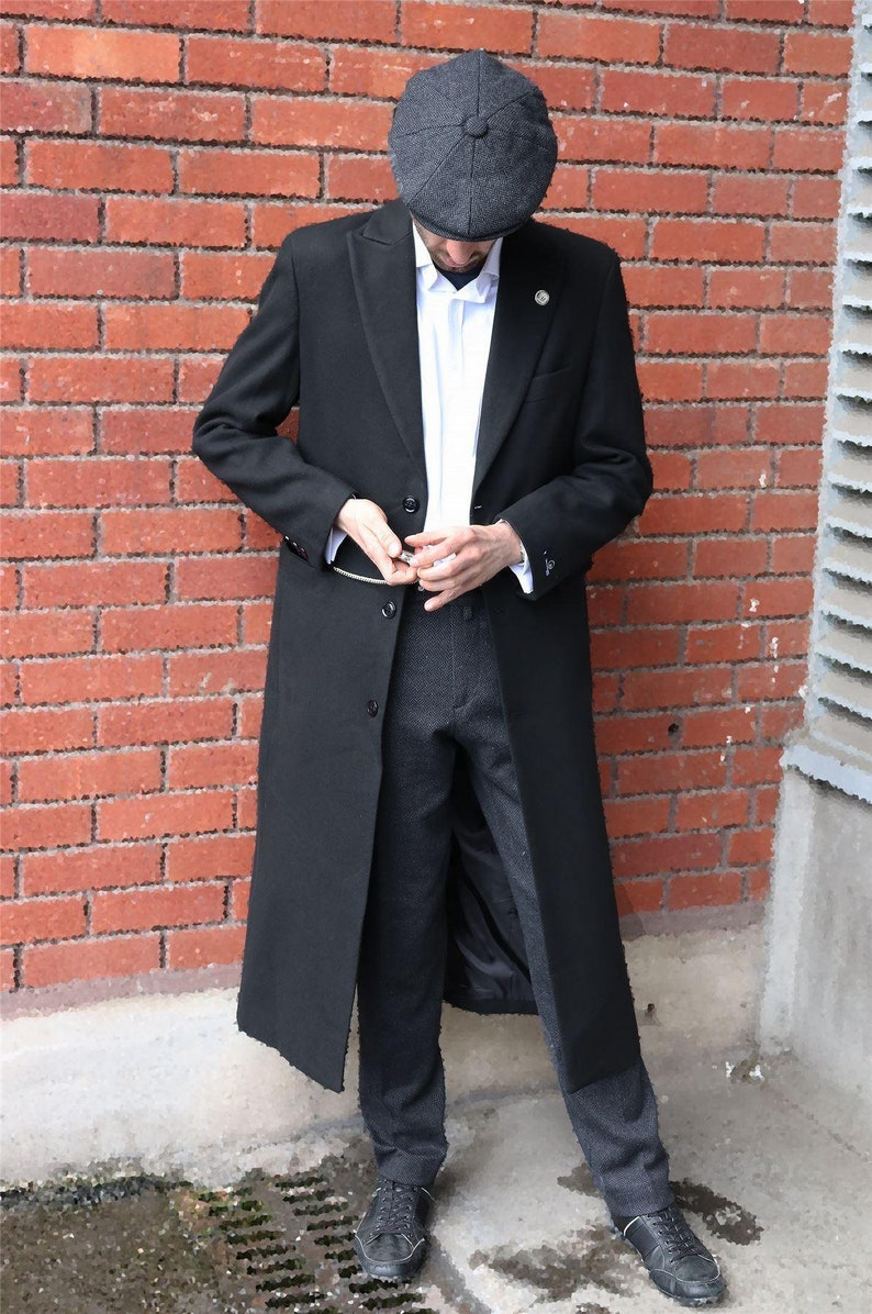 1920s Men's Fashion: What did men wear in the 1920s?     Mens full length overcoat mac jacket wool feel charcoal black 1920s blinders $122.62 AT vintagedancer.com