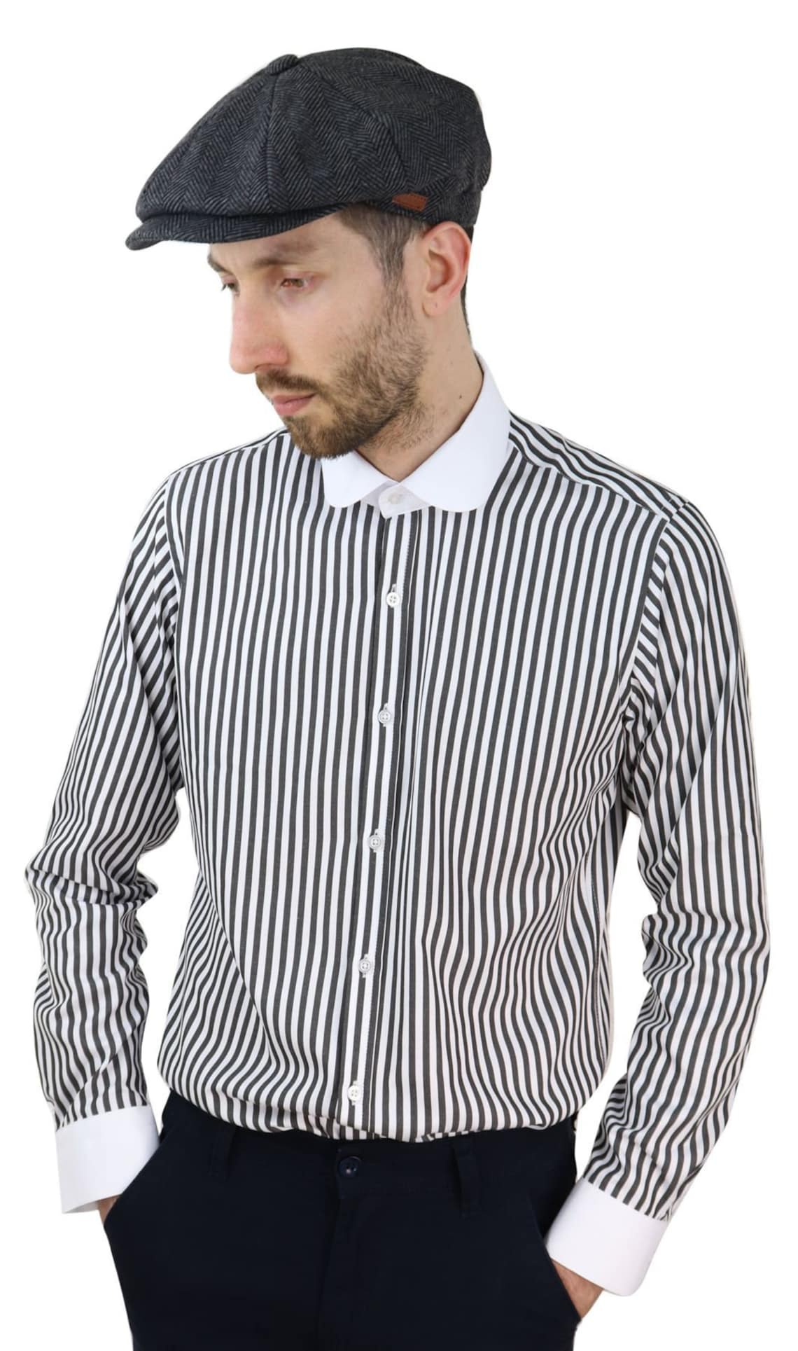 1920s Men's Shirts and Collars History     Mens penny button shirt round collar  stripe regular fit classic $33.17 AT vintagedancer.com
