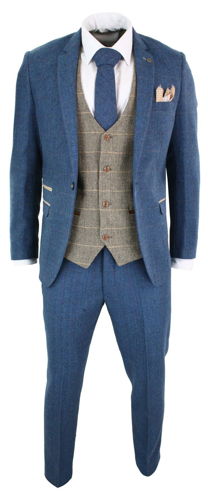 Men's Vintage Clothing | Retro Clothing for Men     Mens blue tan brown 3 piece herringbone tweed check vintage tailored fit suit - blue $350.56 AT vintagedancer.com