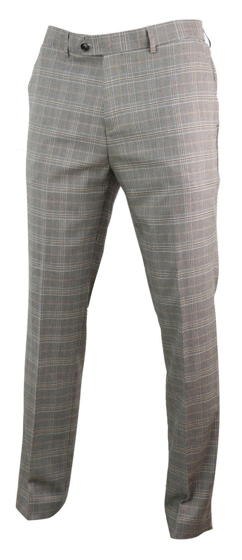 1920s Men's Pants History: Oxford Bags, Plus Four Knickers, Overalls     Men check tweed trousers herringbone regular tailored fit 1920s $72.13 AT vintagedancer.com