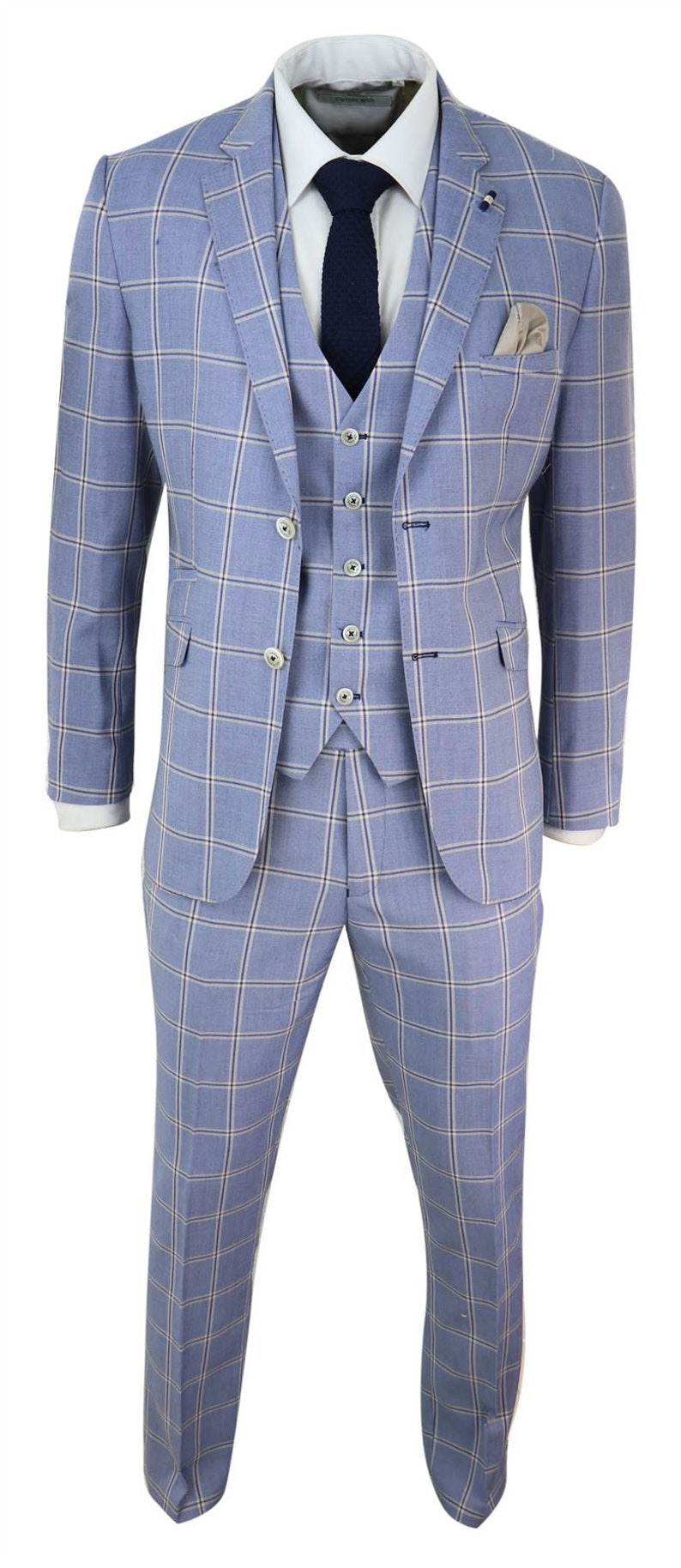 Men's Vintage Clothing | Retro Clothing for Men     Mens 3 Piece Suit Light Blue Check Vintage Classic Retro Tailored Fit Wedding $158.69 AT vintagedancer.com