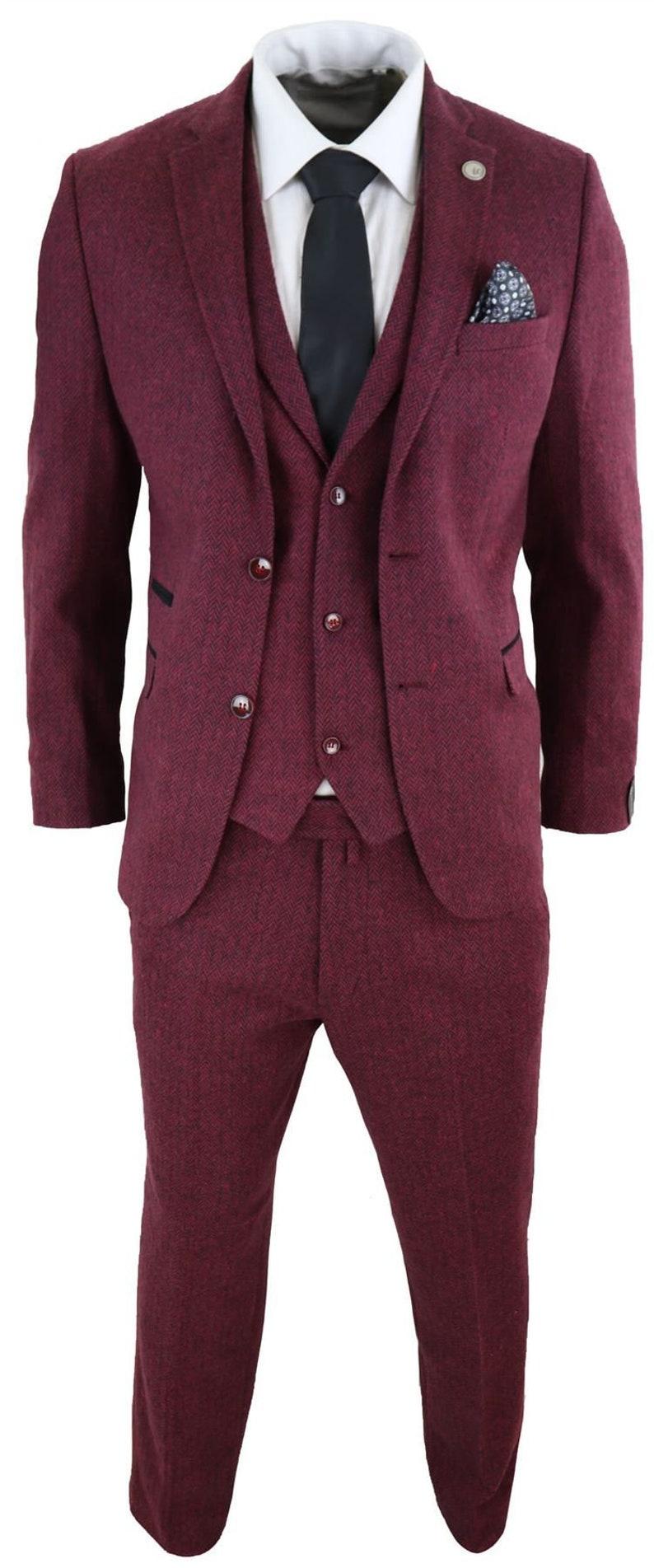 1960s Mens Suits | Mod, Skinny, Nehru     Mens wool 3 piece suit tweed burgundy black tailored fit  classic $187.55 AT vintagedancer.com