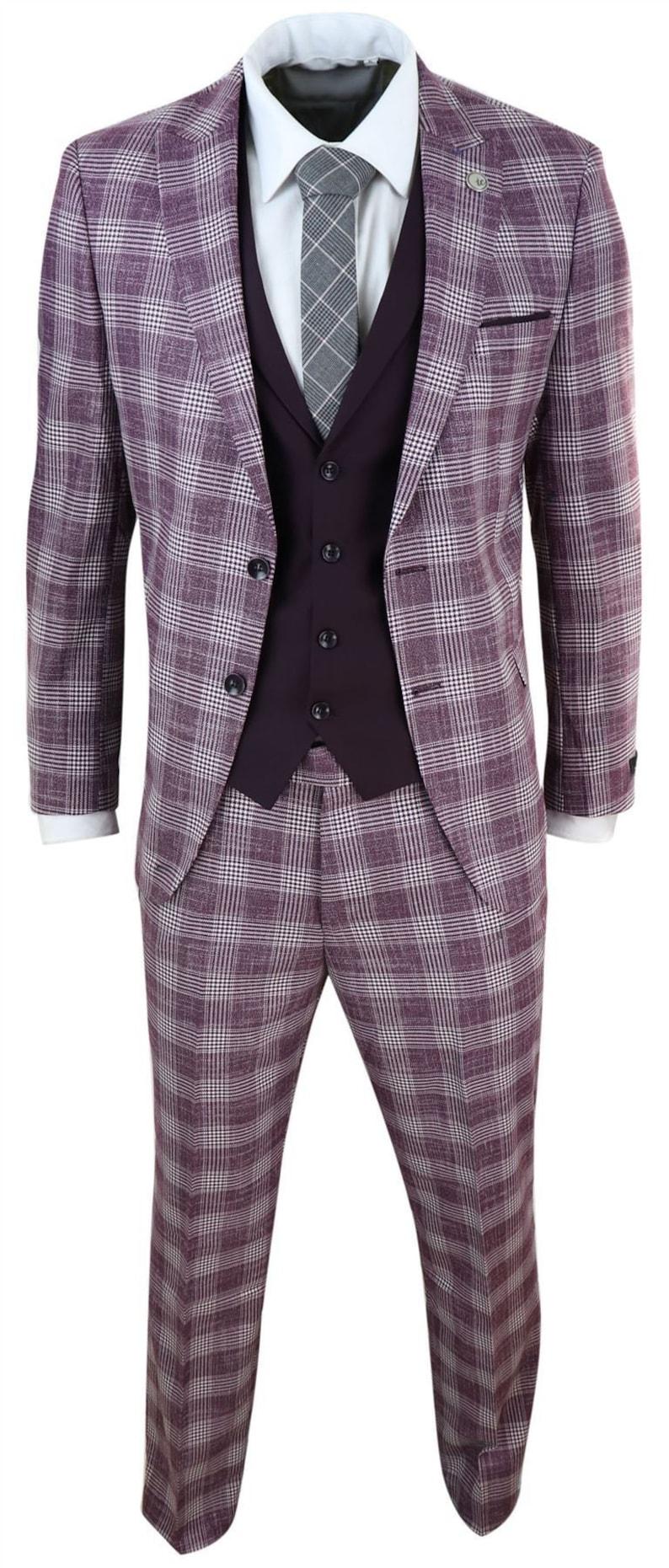 1960s Mens Suits | Mod, Skinny, Nehru     Mens 3 piece suit check herringbone tweed vintage burgundy classic wedding prom $173.12 AT vintagedancer.com