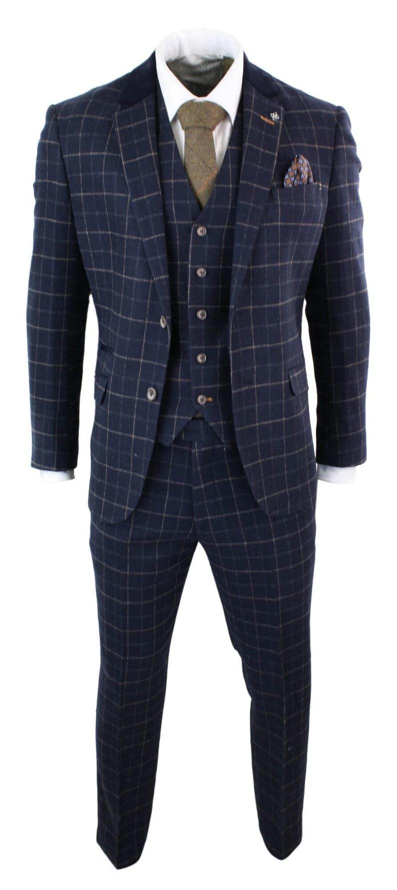 1920s Mens Suits   Gatsby, Gangster, Peaky Blinders     Cavani Shelby - Mens Navy Blue 3 Piece Herringbone Check Suit Vintage Retro Tweed $288.52 AT vintagedancer.com