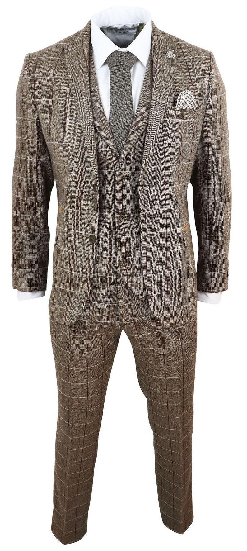 Men's Vintage Clothing | Retro Clothing for Men     Mens 3 piece tweed suit check wool oak brown  1920s retro classic $180.33 AT vintagedancer.com