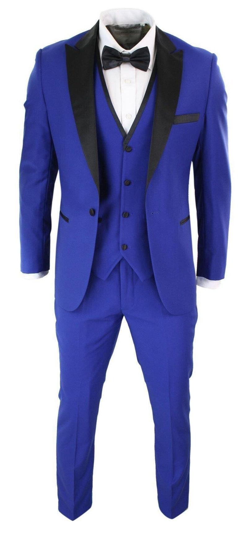1960s Mens Suits | Mod, Skinny, Nehru     Mens 3 piece blue black satin tuxedo dinner suit tailored fit wedding prom groom $230.83 AT vintagedancer.com