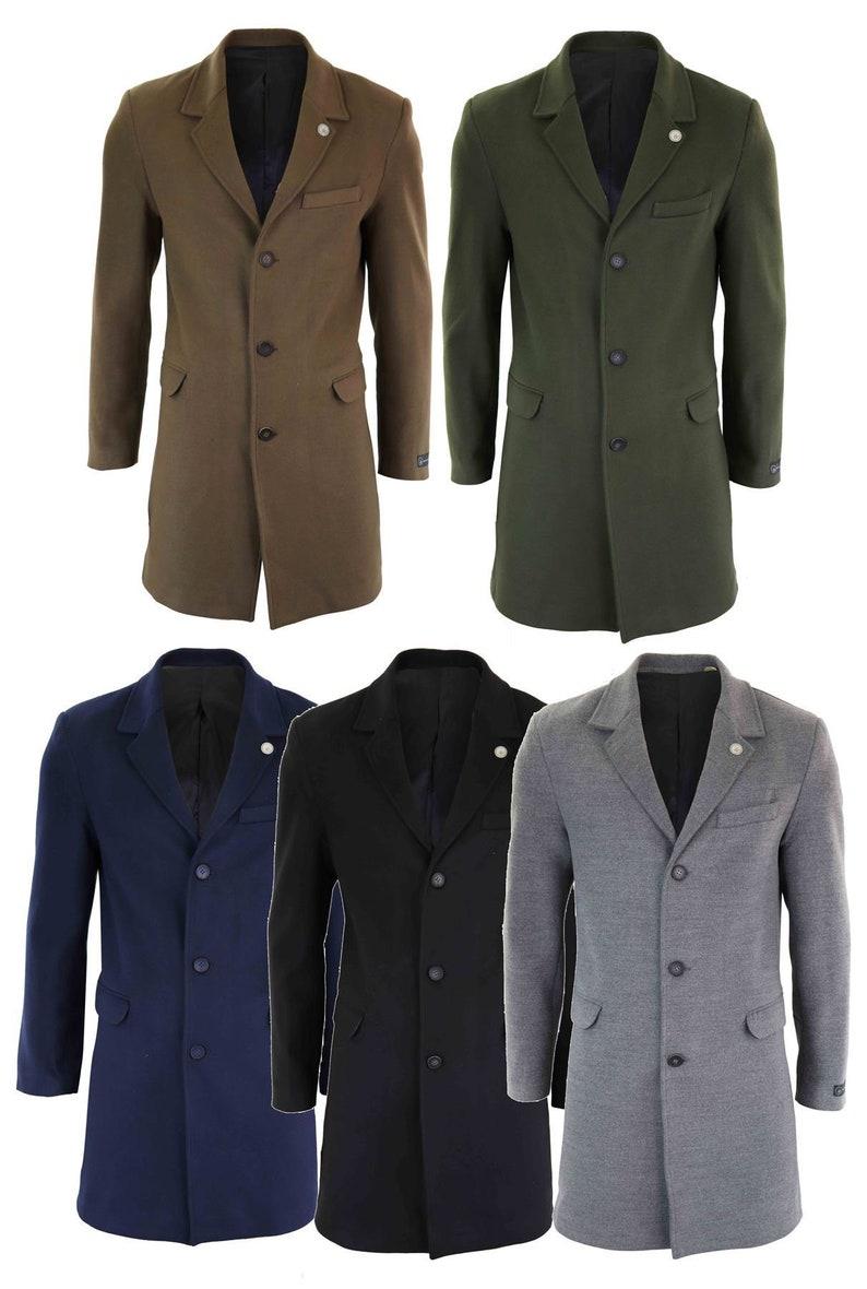 50s Men's Jackets | Greaser Jackets, Leather, Bomber, Gabardine     Mens 3/4 long crombie overcoat jacket wool feel coat peaky blinders slim fit $100.98 AT vintagedancer.com