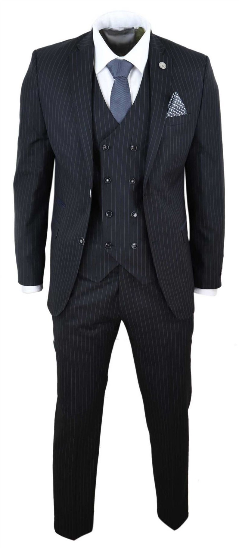 1920s Mens Suits   Gatsby, Gangster, Peaky Blinders     Mens 3 piece suit gatsby 1920s  gangster pinstripe tailored fit $180.33 AT vintagedancer.com