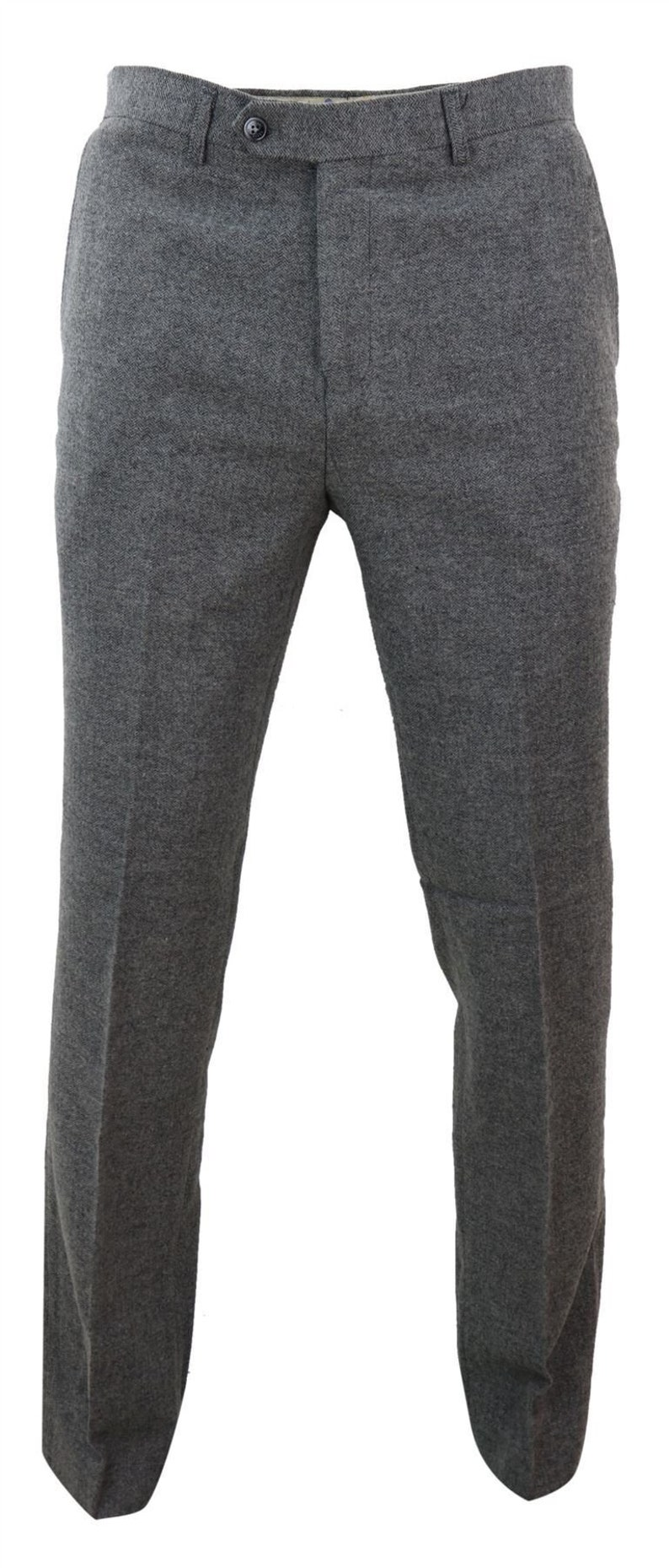 1920s Men's Pants History: Oxford Bags, Plus Four Knickers, Overalls     Mens trousers wool herringbone tweed dark grey formal classic 1920s tailored fit $72.13 AT vintagedancer.com