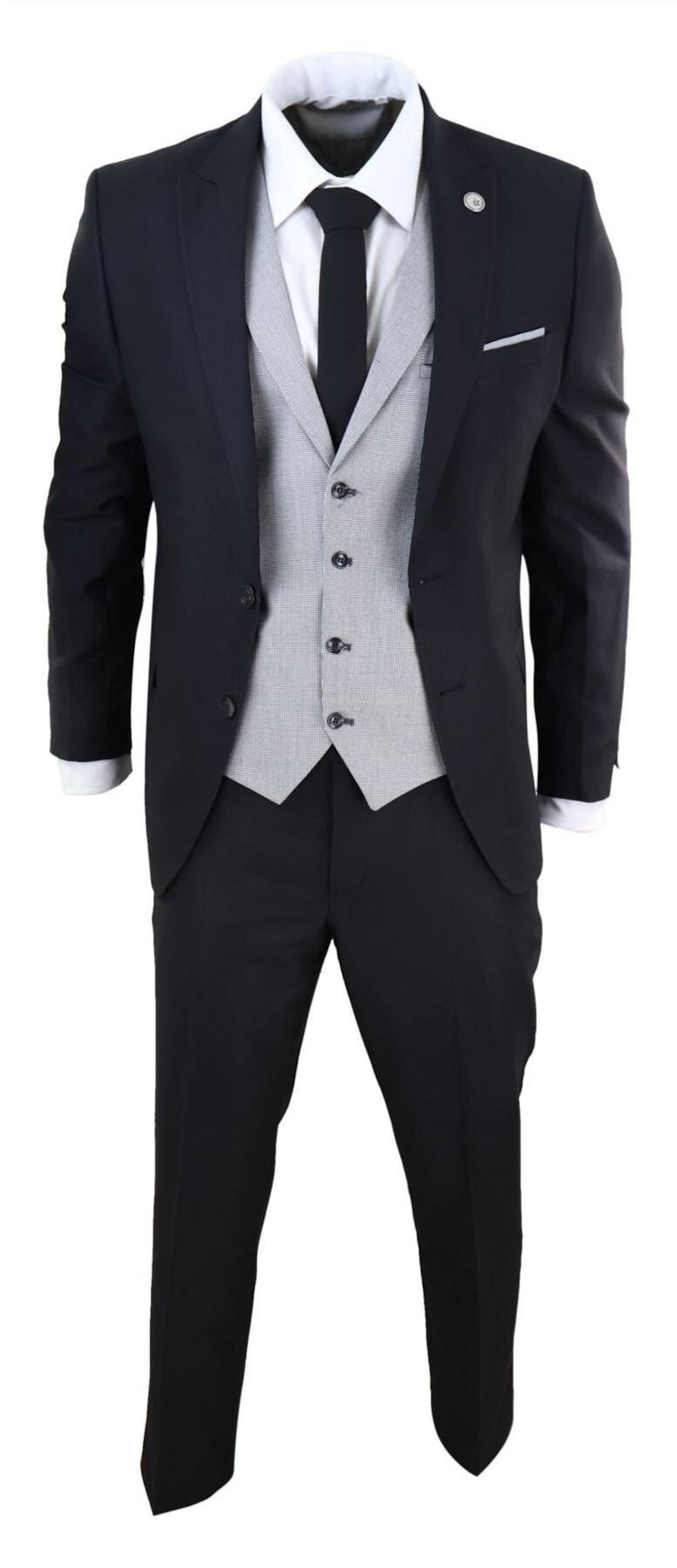 Men's Vintage Clothing | Retro Clothing for Men     Mens 3 piece tweed herringbone  vintage 1920s gatsby suit black $173.12 AT vintagedancer.com