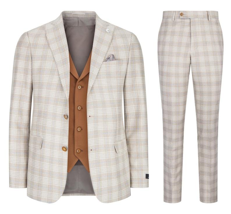 Men's Vintage Clothing | Retro Clothing for Men     Mens 3 piece suit check 1920s gatsby tweed vintage beige classic wedding prom $173.12 AT vintagedancer.com