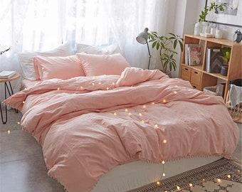 Light Pink Pom Pom Dona Duvet Cover , Queen Size Duvet Cover . Frenches Cotton Duvet Cover.All Size Boho Bedding Comforter Cover All Sizes