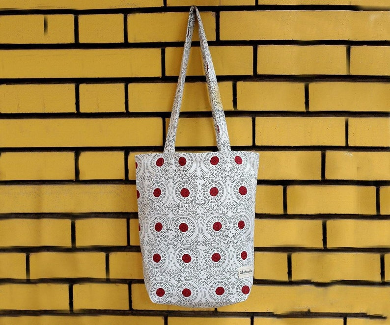 Cotton Tote bags for Shopping 14x15 Red Printed Shopping Bag Reusable cloth bags