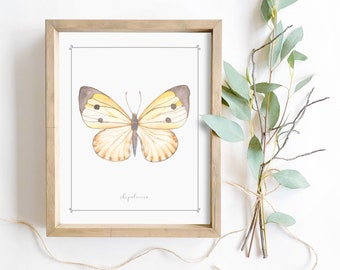 Yellow butterfly watercolor wall art digital printable cute spring home decor girls nursery nature print
