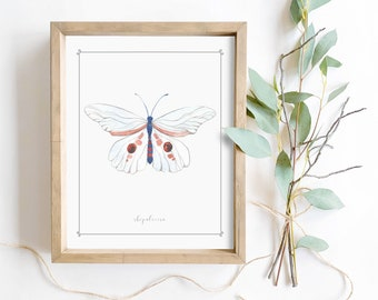 White butterfly watercolor wall art digital printable cute spring home decor girls nursery nature print