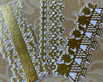 Set of 3 Anna Griffin Die Cut and Embossed Lace Borders in Classic Gold Foil