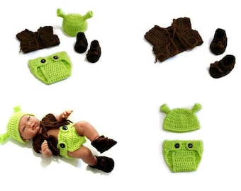 Baby Shrek Costume Crochet Shrek Outfit Newborn Green Ogre Hat Photography Prop Shower Gift Coming Home Outfit MADE TO ORDER