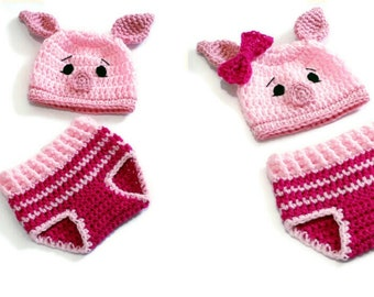 Piglet Crochet Outfit Newborn Winne the Pooh Piglet Costume Winne the Pooh Baby Shower Photo Prop Coming Home Outfit MADE TO ORDER