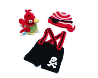 Baby Pirate Outfit Newborn Crochet Pirate Costume Hat  Eyepatch Suspenders Short Parrot Toy Photo Prop Nautical Nursery MADE TO ORDER
