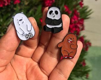 We bare bears pin, enamel pin, Grizzly pin, panda pin, ice bear pin, bag pins, jacket pins, school bag pins.