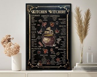 Kitchen Witchery Poster, Witches Poster, Witches Magic Knowledge Wall Art, Magic Lover Gift,Kitchen Blessing Incense Artwork,Best Gifts Ever