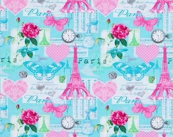 Destination Paris blue Eiffel Tower cotton fabric by Whistler Studios for Windham Fabrics 42498-4