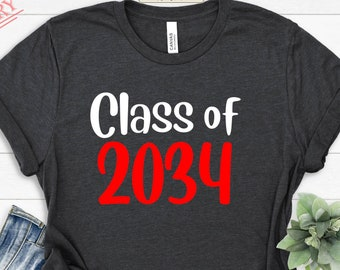 Class of 2034 Shirt, First Day of School, Grow With Me Shirt, Class of 2033 Tee, 2032 T-shirt, Personalized Name Graduation Tee