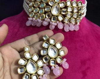 Indian Meenakari Kundan Choker Traditional Gold Plated Pearls Antique Design Women Fashion Jewelry Set