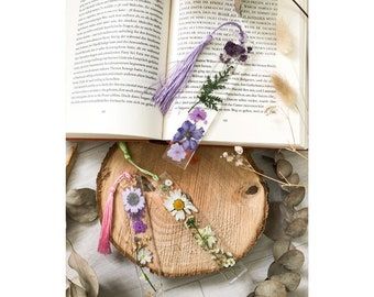 Bookmarks with dried flowers in different colors, customizable tassels, transparent bookmarks with flowers made of resin resin resin