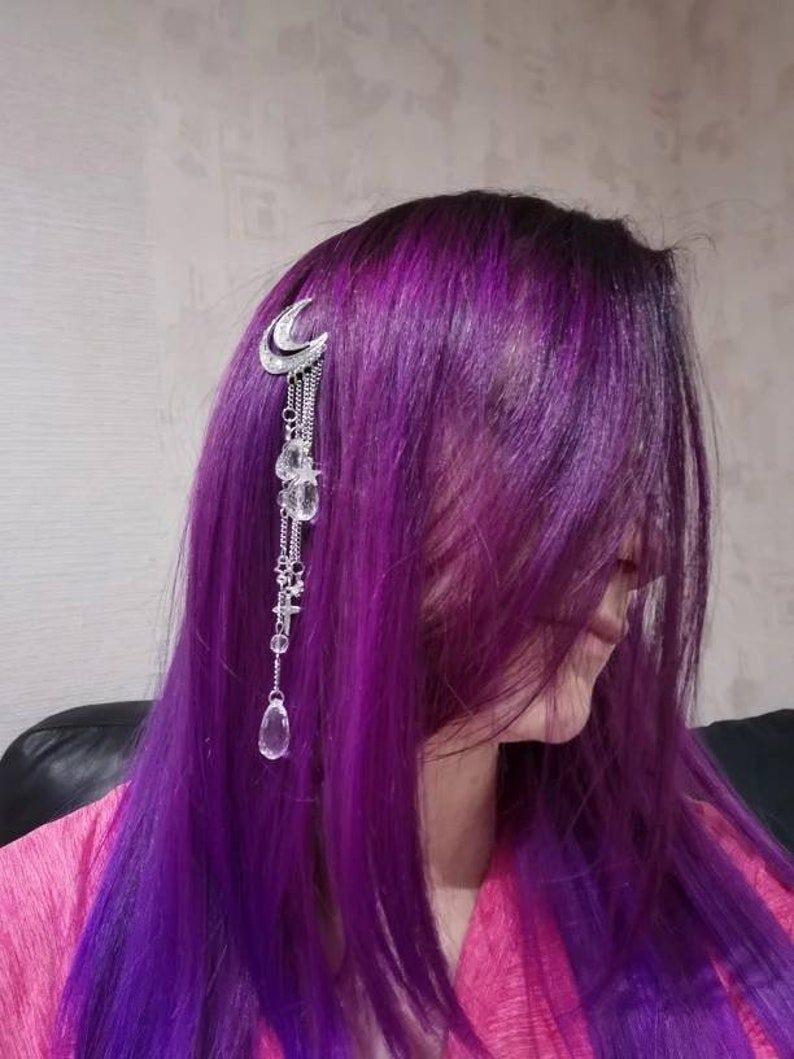 Women Hair Bands Lady Moon Rhinestone Crystal Tassel Long Chain Beads Dangle Hairpin Hair Clip Hair Jewelry