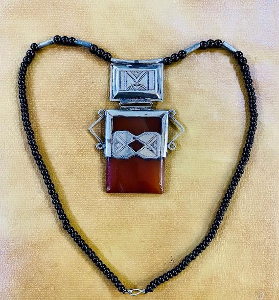 Touareg Touareg Collier Necklace Agate Onyx Mali Morocco tribal jewelry Grey Ethnic Africa ethnic ethno Asia India AfricaCollier onyx brown