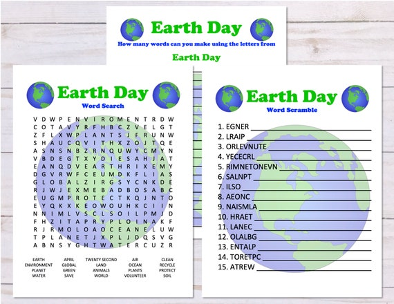 Set of 3 Earth Day Word Games Word Search Word Scramble