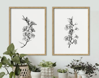 Set of 2 Botanical Art prints, Herbs,  Black and white Artwork, Wall Art, Modern Home Decor, Scandinavian, Nature Art, Gift