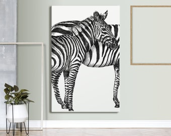 Animal Canvas Art, Black and white Artwork, Wall Art, Modern Home Decor, Scandinavian, Nature Art, Gift
