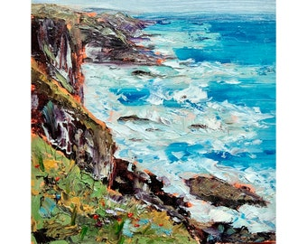 "Ireland Landscape Irish Coastline Original Art Hiking Painting Impasto Oil Painting 10 by 10"""