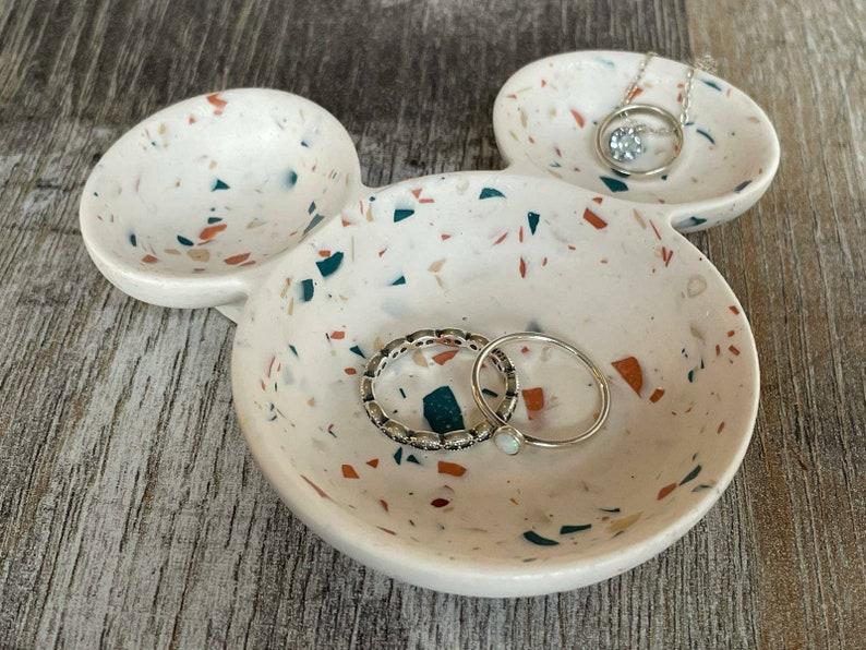 Mickey mouse white terrazzo ring jewellery dish