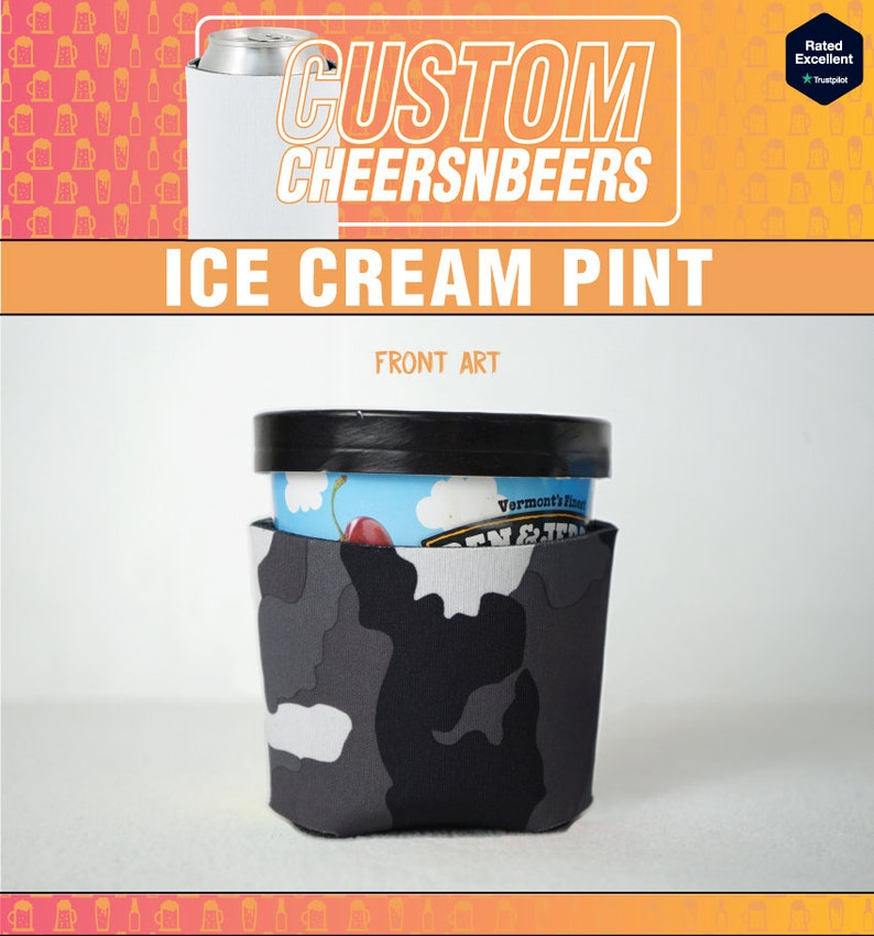 Best Friend Pre-Printed 2-Pack Wild Couple Ice Cream Pint Cozies His and Hers S Camo Cheetah Ice Cream Coolie Newly Wed Gift