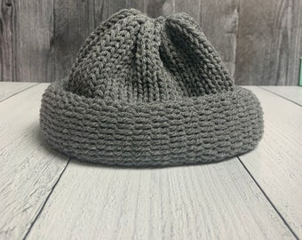 Gray Area Fisherman Beanie | Skull Cap Beanie | Unisex Cap | Chunky Knit Handmade Hat | Mens Winter Hat