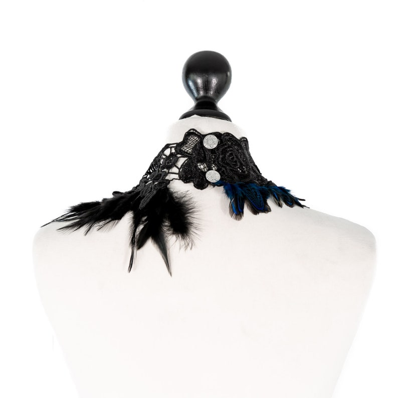 SiaLinda blue and black feathers semi precious stone lapis lazuli crystal Chest ornament necklace Marie