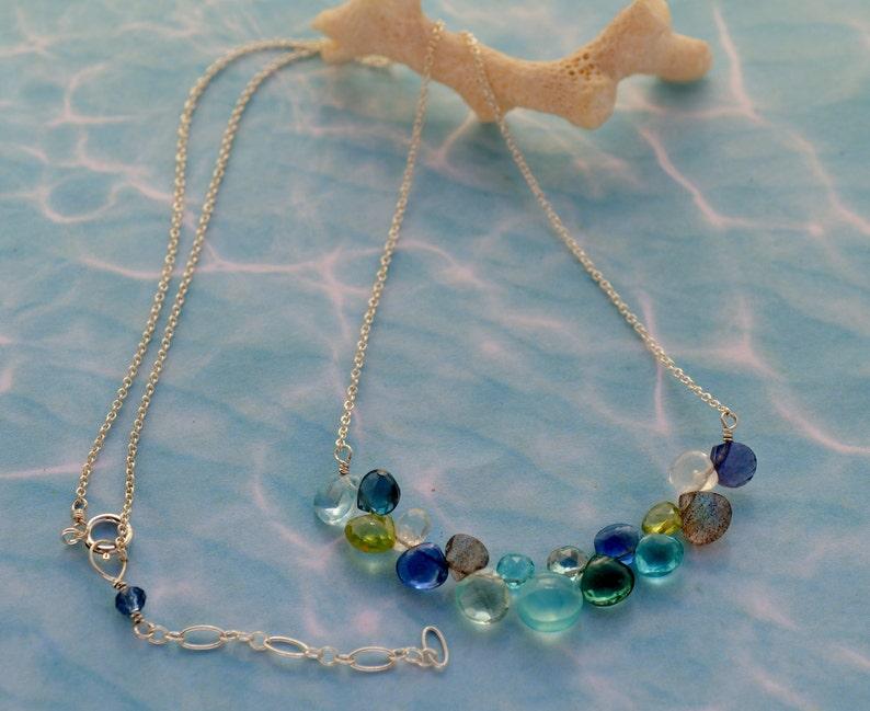 Moonstone Stick Necklace Mix Blue stone Pendant Peridot Minimalist Statement Necklace Aquamarine Labradorite Gift for her Chalcedony