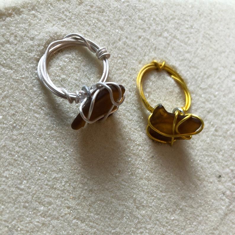 Brown Sea Glass Ring